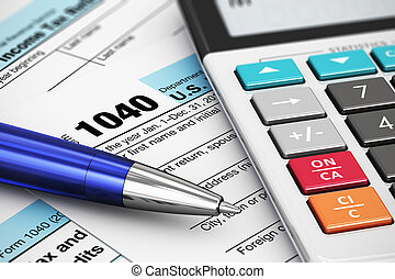 1040 US Tax Form - Macro view of 1040 US Tax Form,...