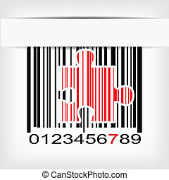 Barcode image with red strip