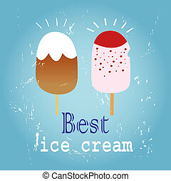 delicious ice cream - painted illustration of the different...
