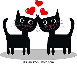 two cats in love - love Valentines day or other celebration