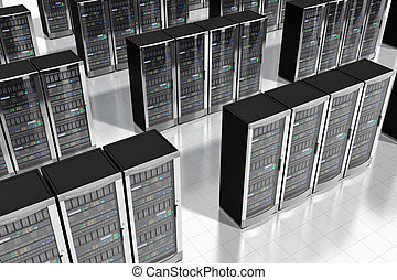 Network servers in datacenter - Cloud computing and computer...
