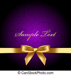 purple background with gold bow - Vector purple background...