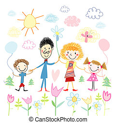 Childs drawing of happy family - Funny colorful childs...
