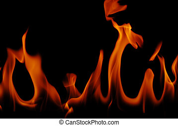 Fire flames - Close shot of fire flames from a fireplace