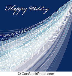 wedding veil - Greeting card with a beautiful wedding veil...