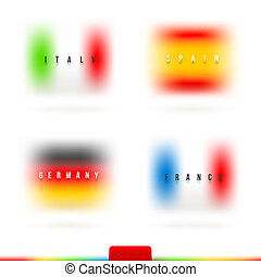 Flags of European countries with diffuse colors - vector...