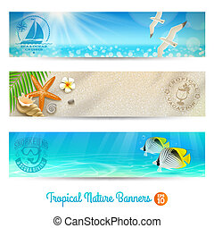 Travel banners with tropical nature