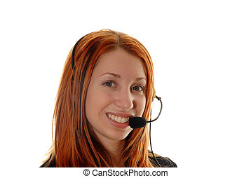 Customer service operator - Young red head with head phone...