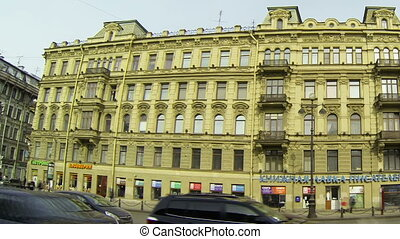 The facade of an old building in St. Petersburg. Nevsky...