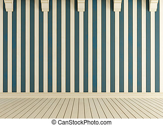 White and blue wooden room