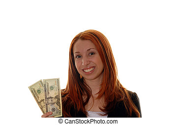 Money business - Young business woman holding money