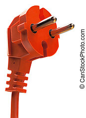 orange electric plug with cable isolated on white background