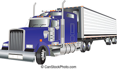 Truck - A Blue American Truck hauling a Refrigerated Trailer