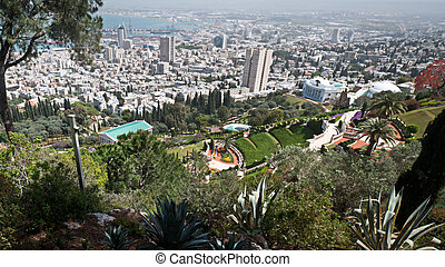 Haifa spring - A view of the city from above Haifa Israel...