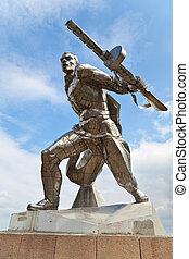 Monument to soviet soldier in New Odessa, Ukraine - Monument...