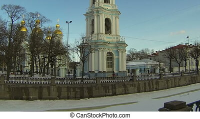 Christian church in Petersburg. Orthodox temple.
