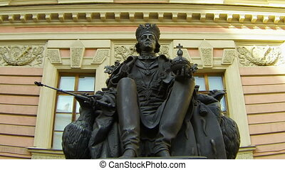 Monument to Emperor Paul I in yard of the Mikhailovsky...
