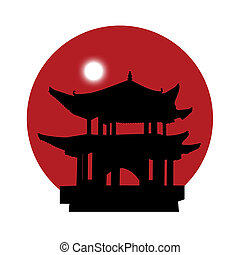 silhouette of a pagoda on a red sun background - black...