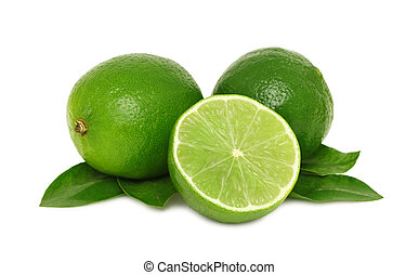 Ripe limes with leaves (isolated) - Ripe limes with leaves...