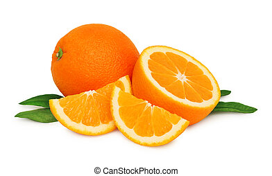 Ripe oranges and two slices with green leaves isolated -...