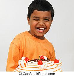 boy celebrating birthday party - Asian boy celebrating...