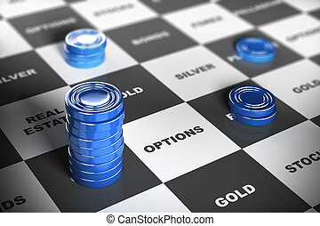 Asset Management or Financial Inves - Blue checkers pieces...