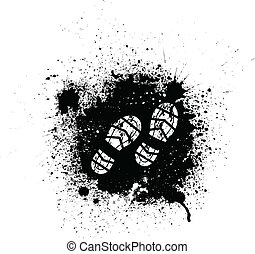 Ink blots and footprint - Black ink blots and white...