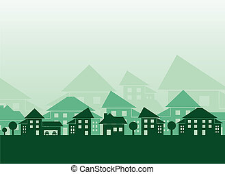 Estate skyline - Green houses different forms background