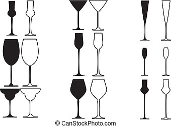 Stemware - Black silhouettes of different forms stemware