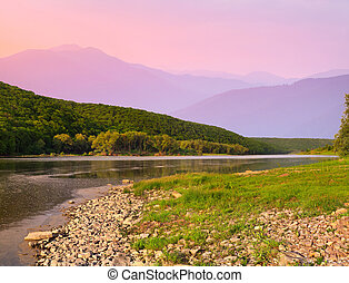 Beautiful summer landscape in the mountains with river...