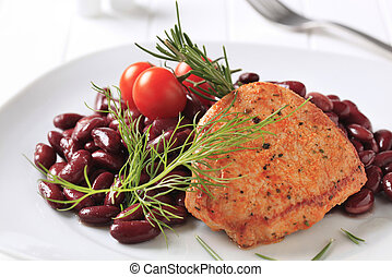 Marinated pork chop with red beans - Marinated pan fried...