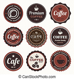 Vintage coffee badges and labels - Set of vintage coffee...
