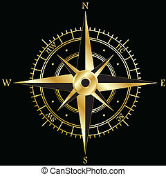Golden wind rose isolated on black