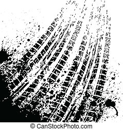 Tire track background - White background with grunge black...