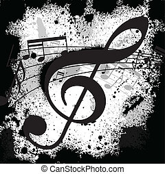 Ink blots treble clef - Gunge black background with music...