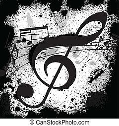 Ink blots treble clef - Gunge black background with music...