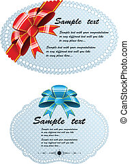 Greeting cards - Two greeting cards with ribbon and bow
