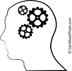 Brain of gears silhouette