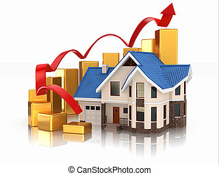 Growth of real estate market House and graph 3d