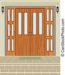 Exterior House Door - Exterior house wood door vector...
