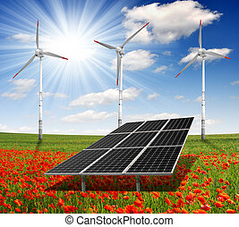 energy concepts - solar energy panels and wind turbine on...