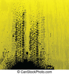Tire track background - Yellow tire track background with...