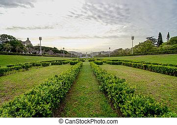Lisbon viewed from Eduardo VII Park, main garden, Tagus...