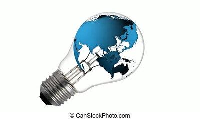sphere earth in bulb
