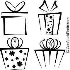 Gift box icon set - Set of four black gift boxes on white...