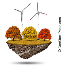 Little island with wind turbines and autumnal trees