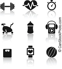 Fitness icons - Set of nine black fitness icons with shadow