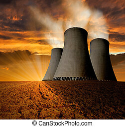 nuclear power plant - Sunset over the nuclear power plant