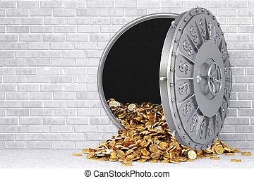 vault - open a bank vault with a bunch of gold coins.
