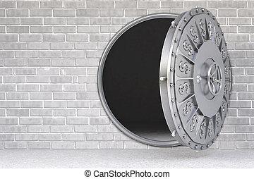 vault - the open door of a bank vault.